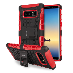 Protect your Samsung Galaxy Note 8 from bumps and scrapes with this red ArmourDillo case from Olixar. Comprised of an inner TPU case and an outer impact-resistant exoskeleton, with a built-in viewing stand.