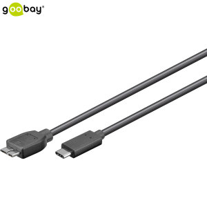 Goobay Micro USB 3.0 to USB-C Charge and Sync Cable - Black