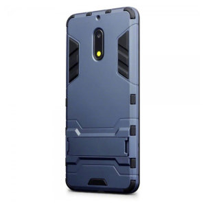 Protect your Nokia 6 from bumps and scrapes with this blue dual layer armour case. Comprised of an inner TPU section and an outer impact-resistant exoskeleton, with a built-in viewing stand.