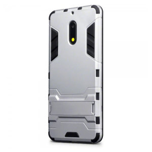 Protect your Nokia 6 from bumps and scrapes with this silver dual layer armour case. Comprised of an inner TPU section and an outer impact-resistant exoskeleton, with a built-in viewing stand.