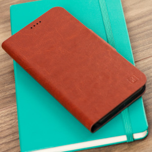 Protect your Samsung Galaxy J3 2017 with this durable and stylish brown leather-style wallet case by Olixar. What's more, this case transforms into a handy stand to view media.