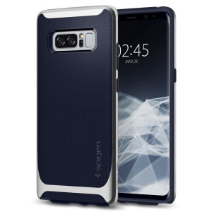 The Spigen Neo Hybrid in silver arctic is the new leader in lightweight protective cases. Spigen's new Air Cushion Technology reduces the thickness of the case while providing optimal corner protection for your Samsung Galaxy Note 8.
