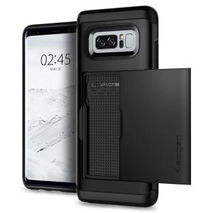 The Spigen Samsung Galaxy Note 8 Slim Armor CS Case in black features a back compartment that can hold up to 2 credit cards or IDs. It is constructed with the Air Cushion Technology that gives extreme shock absorption and device protection.