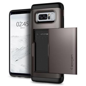 The Spigen Samsung Galaxy Note 8 Slim Armor CS Case in gunmetal features a back compartment that can hold up to 2 credit cards or IDs. It is constructed with the Air Cushion Technology that gives extreme shock absorption and device protection.