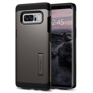 The Spigen Tough Armor in gunmetal is the new leader in lightweight protective cases. The new Air Cushion Technology corners reduce the thickness of the case while providing optimal protection for your Samsung Galaxy Note 8.
