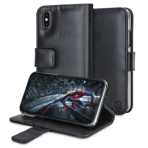 A sophisticated lightweight black genuine leather case with a magnetic fastener. The Olixar genuine leather wallet case offers perfect protection for your iPhone X, as well as featuring slots for your cards, cash and documents.