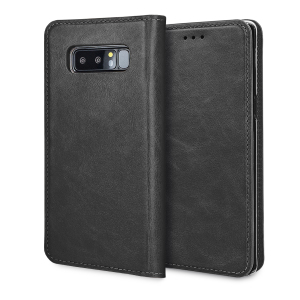 A premium slimline black genuine leather case. The Olixar genuine leather executive wallet case offers perfect protection for your Samsung Galaxy Note 8, as well as featuring a smart magnetic media stand slots for your cards, cash and documents.