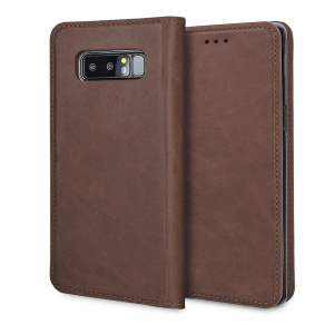 A premium slimline brown genuine leather case. The Olixar genuine leather executive wallet case offers perfect protection for your Samsung Galaxy Note 8, as well as featuring slots for your cards, cash and documents.