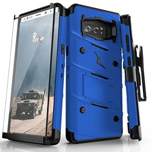 Equip your Samsung Galaxy Note 8 with military grade protection and superb functionality with the ultra-rugged Bolt case in blue and black from Zizo. Coming complete with a tempered glass screen protector, handy belt clip and integrated kickstand.