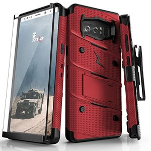 Equip your Samsung Galaxy Note 8 with military grade protection and superb functionality with the ultra-rugged Bolt case in red and black from Zizo. Coming complete with a handy belt clip and integrated kickstand.