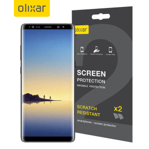 Keep your Samsung Galaxy Note 8 screen in pristine condition with this Olixar scratch-resistant screen protector 2-in-1 pack.