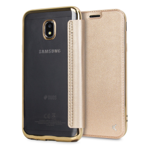 Protect your Samsung Galaxy J3 2017 - US version with this gold metallic folio case from KSIX. Combining a durable TPU frame with a high-quality leather-style front cover, this case adds protection and also features a card slot for cards, cash or ID.