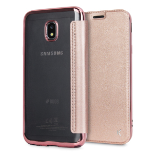 Protect your Samsung Galaxy J3 2017 - US version with this rose gold metallic folio case from KSIX. Combining a durable TPU frame with a high-quality leather-style front cover, this case adds protection and also features a card slot for cards, cash or ID.