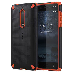 This rugged, sleek official tough case in black and orange for the Nokia 5 sports a textured, tactile dot matrix grip design while also offering extreme protection from drops, knocks and scrapes.