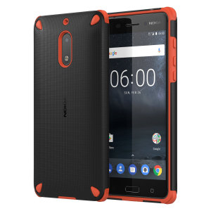 This rugged, sleek official tough case in black and orange for the Nokia 6 sports a textured, tactile dot matrix grip design while also offering extreme protection from drops, knocks and scrapes.