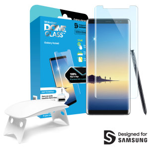 The Whitestone Dome Glass screen protector for Galaxy Note 8 uses a UV lamp with a proprietary UV adhesive installation to ensure a total and perfect fit for your device. Featuring 9H hardness for absolute protection, as well as 100% touch sensitivity.