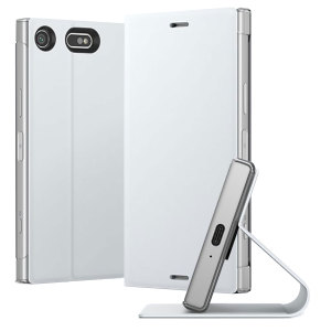 This high quality official bi-fold folio case from Sony houses your Xperia XZ1 Compact smartphone, providing protection and access to your ports and features while incorporating a built-in viewing stand - in white.