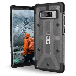 The Urban Armour Gear Plasma semi-transparent tough case in Ash grey and black for the Samsung Galaxy Note 8 features a protective case with a brushed metal UAG logo insert for an amazing rugged and stylish design.