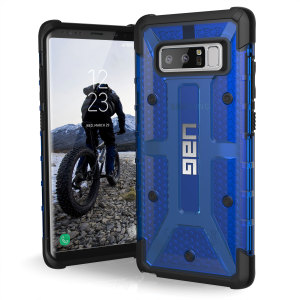 The Urban Armour Gear Plasma semi-transparent tough case in cobalt and black for the Samsung Galaxy Note 8 features a protective case with a brushed metal UAG logo insert for an amazing rugged and stylish design.