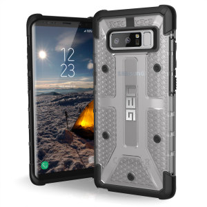 The Urban Armour Gear Plasma semi-transparent tough case in ice and black for the Samsung Galaxy Note 8 features a protective case with a brushed metal UAG logo insert for an amazing rugged and stylish design.