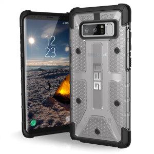 Urban Armour Gear till Samsung Galaxy Note 8 har ett skyddande TPU-skal med en borstad UAG-logotyp i metall för en fantastisk design.