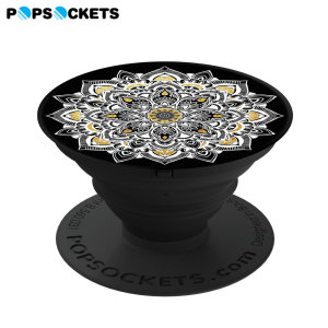 Who said pop is dead? Super-sleek, compact and convenient, this expanding stick-on accessory for all smartphones in golden lace props up your device so you don't have to. Simply stick PopSockets to the back of your phone, then pull outwards.