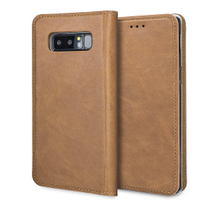 A premium slimline lightweight tan genuine leather case. The Olixar genuine leather executive wallet case offers perfect protection for your Samsung Galaxy Note 8, as well as featuring slots for your cards, cash and documents.