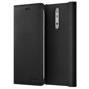 Prestigious protection and luxurious classic style. Protect your Nokia 8's back, sides and screen from harm while keeping your most vital card close to hand with the official leather flip wallet cover in black from Nokia.