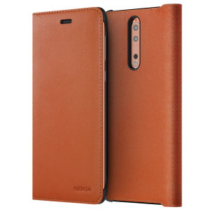 Prestigious protection and luxurious classic style. Protect your Nokia 8's back, sides and screen from harm while keeping your most vital card close to hand with the official leather flip wallet cover in tan brown from Nokia.