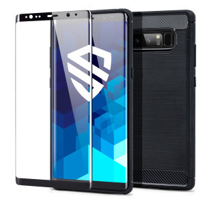 Flexible rugged casing with a premium matte finish non-slip carbon fibre and brushed metal design, the Olixar Sentinel case in black provides total protection for your Samsung Galaxy Note 8 with the added bonus of a tempered glass screen protector