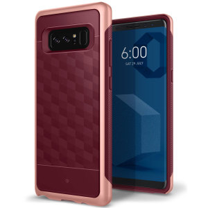 Protect your Samsung Galaxy Note 8 with this stunning premium dual-layered shell case in burgundy. Made with tough dual-layered yet slim material, this hardshell body with a sleek metallic bumper features an attractive two-tone finish.