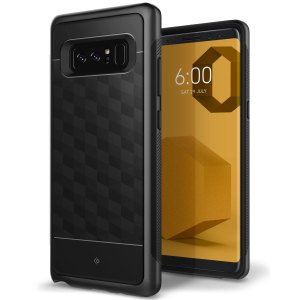 Protect your Samsung Galaxy Note 8 with this stunning premium dual-layered shell case in black. Made with tough dual-layered yet slim material, this hardshell body with a sleek metallic bumper features an attractive two-tone finish.