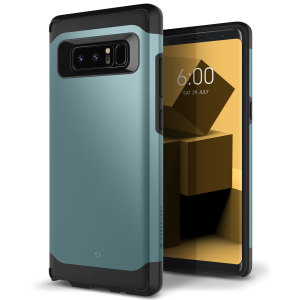 Protect your Samsung Galaxy Note 8 with this stunning premium dual-layered shell case in aqua green. Made with tough dual-layered yet slim material, this hardshell body with a sleek metallic bumper features an attractive two-tone finish.