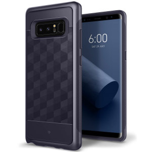 Protect your Samsung Galaxy Note 8 with this stunning premium dual-layered shell case in orchid gray. Made with tough dual-layered yet slim material, this hardshell body with a sleek metallic bumper features an attractive two-tone finish.