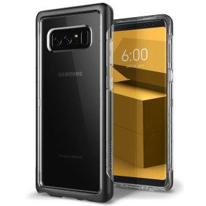 Bescherm je Samsung Galaxy Note 8 met deze precieze, zwarte en duidelijke case van Caseology. Gemaakt met een robuuste minimalistische ethiek, biedt deze doorzichtige behuizing bescherming voor uw telefoon, terwijl het nog steeds zijn natuurlijke charme handhaaft.