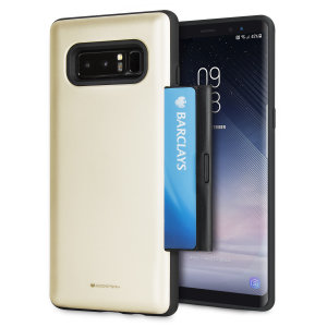 Designed for the Samsung Galaxy Note 8, this gold and black card case from Mercury provides a perfect fit and protection against scratches, knocks and drops with the added convenience of a credit card-sized sliding slot.