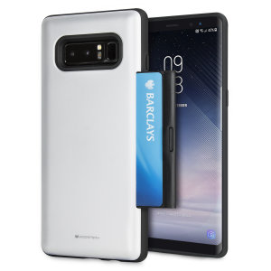 Designed for the Samsung Galaxy Note 8, this silver and black card case from Mercury provides a perfect fit and protection against scratches, knocks and drops with the added convenience of a credit card-sized sliding slot.