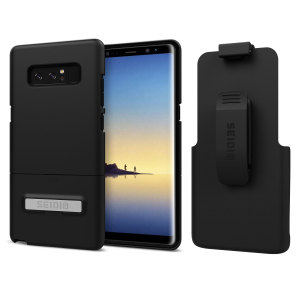 A sleek and slimline soft-touch black case for the Samsung Galaxy Note 8 that offers superb protection yet adding very little bulk to your phone. The Combo includes the SURFACE holster for the Note 8, so you can clip your phone to your belt.