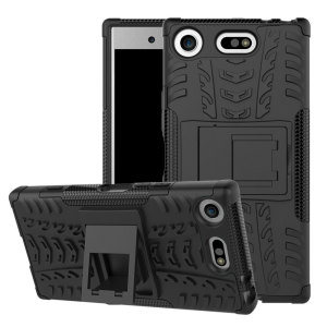 Protect your Sony Xperia XZ1 Compact from bumps and scrapes with this black ArmourDillo case. Comprised of an inner TPU case and an outer impact-resistant exoskeleton, with a built-in viewing stand.