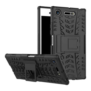 Protect your Sony Xperia XZ1 from bumps and scrapes with this black ArmourDillo case. Comprised of an inner TPU case and an outer impact-resistant exoskeleton, with a built-in viewing stand.