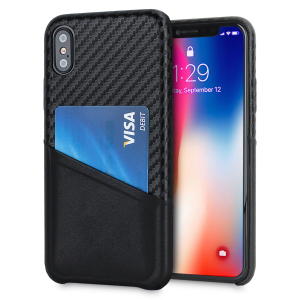 With sleek, lightweight construction and stunning carbon fibre effect, this attractive black case from Olixar for the iPhone X provides stunning style and protection for your device and also features a handy card pouch so you can travel light.