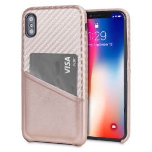 With sleek, lightweight construction and stunning carbon fibre effect, this attractive rose gold case from Olixar for the iPhone X provides stunning style and protection for your device and also features a handy card pouch so you can travel light.