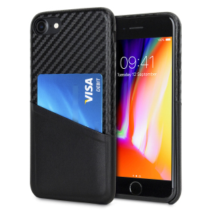With sleek, lightweight construction and stunning carbon fibre effect, this attractive black case from Olixar for the iPhone 8 / 7 provides stunning style and protection for your device and also features a handy card pouch so you can travel light.