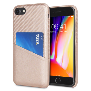 With sleek, lightweight construction and stunning carbon fibre effect, this attractive rose gold case from Olixar for the iPhone 8 / 7 provides stunning style and protection for your device and also features a handy card pouch so you can travel light.