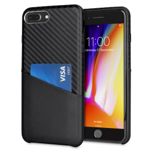 With sleek, lightweight construction and stunning carbon fibre effect, this attractive black case from Olixar for the iPhone 8 Plus / 7 Plus provides stunning style and protection and also features a handy card pouch so you can travel light