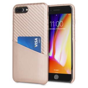 With sleek, lightweight construction and stunning carbon fibre effect, this attractive rose gold case from Olixar for the iPhone 8 Plus / 7 Plus provides stunning style and protection  and also features a handy card pouch so you can travel light