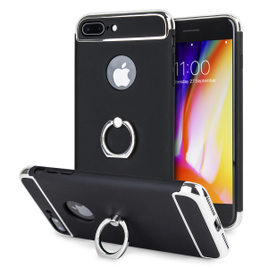Custom made for the iPhone 8 Plus / 7 Plus, this black and silver X-Ring case from Olixar provides excellent protection and a handy finger loop to keep your phone in your hand, whether from accidental drops or attempted theft.
