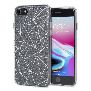 Shine on you crazy diamond with the Shine Bright Like a Diamond iPhone 8 / 7 case from LoveCases. A  black slim polycarbonate case with gel bumper protects your phone while the glitter and geometric diamond design brings the bling.
