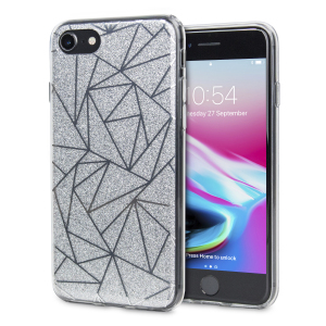 Shine on you crazy diamond with the Shine Bright Like a Diamond iPhone 8 / 7 case from LoveCases. A  silver slim polycarbonate case with gel bumper protects your phone while the glitter and geometric diamond design brings the bling.