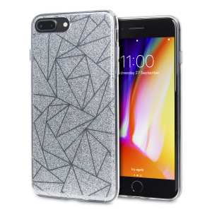 Shine on you crazy diamond with the Shine Bright Like a Diamond iPhone 8 Plus / 7 Plus case from LoveCases. A silver slim polycarbonate case with gel bumper protects your phone while the glitter and geometric diamond design brings the bling.